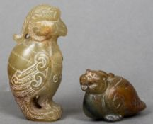 Two small jade carvings Each of mythical bird like beasts. The largest 6 cm high.