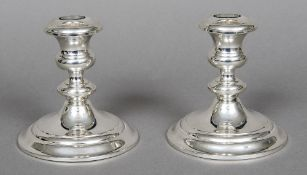A pair of Gorham Sterling dwarf candlesticks Marked to base and numbered 1190. 11.5 cm high.