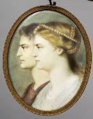 A 19th century miniature portrait on ivory Depicting a male and female classical bust,