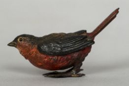 An Austrian cold painted bronze bird Worked with a red breast and tail feathers, stamped Geschutzt.