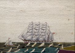 A Victorian woolwork picture Worked with a clipper under sail with a small boat and lighthouse in