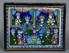 A large 19th century Qajar tile Worked in bright enamels with dignitaries at a feast with