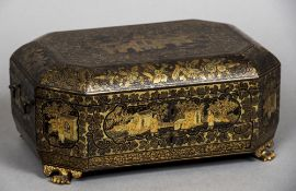 A 19th century Chinese Export chinoiserie lacquered sewing box The hinged lid decorated with