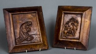 A pair of 19th century carved walnut plaques One depicting Jesus kneeling,