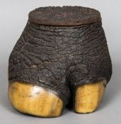 A preserved rhino foot form box The removable lid enclosing a silk lining. 16 cm high.