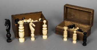 A late 19th/early 20th century French Colonial Regence ivory and brown stained ivory chess