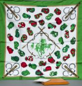 PHILIPPE LEDOUX (1903 - circa 1975) British, for Hermes Silk scarf, Jockey pattern, boxed.