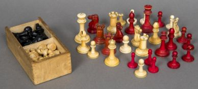 A Jacques ivory and stained ivory chess set, circa 1900 The white King stamped Jacques,