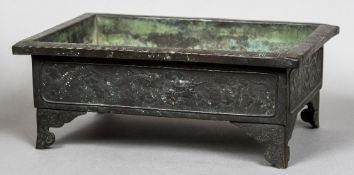 A 19th century Chinese bronze planter Of rectangular form,