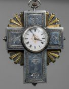 An 19th century unmarked silver pocket watch In the form of the cross,