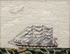 A Victorian woolwork picture Worked with a clipper under sail, maple framed and glazed. 26 x 21 cm.
