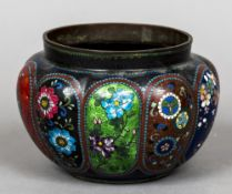 Two 19th century cloisonne jardineres Each of lobed form decorated with floral panels.