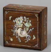 A late 19th century Chinese mother-of-pearl inlaid box, possibly hongmu wood 10.5 cm wide.
