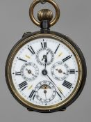 A 19th century gun metal cased multi-dial pocket watch The main white enamelled dial with Roman