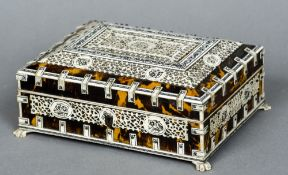 A 19th century Anglo-Indian bone mounted tortoiseshell casket The mounted panels intricately worked