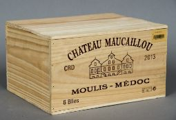 Chateau Maucaillou Moulis-Medoc, 2013 Six bottles in old wooden case.