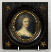 CONTINENTAL SCHOOL (17th/18th century) Portrait miniature of a Lady Wearing a Pearl Necklace Oil on