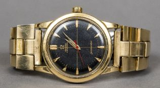 A 9 ct gold and stainless steel Omega Automatic Seamaster gentleman's wristwatch The black dial