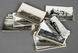 A collection of various photographs and postcards Each pertaining to railways, various sizes.
