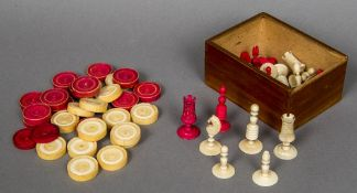 A late 18th century ivory and stained ivory Washington type chess set Together with a set of thirty