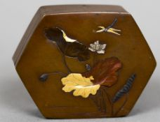 A late 19th century Japanese hexagonal multi-metal inlaid patinated bronze box The removable lid