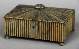 A 19th century Anglo-Indian horn veneered needlework box The hinged domed lid with a squat knop
