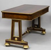 A 19th century rosewood library table The rounded rectangular top above twin frieze drawers,