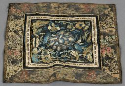 A 19th century Chinese embroidered silk rank badge Decorated with butterflies amongst floral sprays,