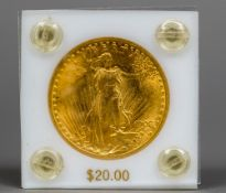 An American 1908 St Gordens $20 (20 dollar) gold coin Perspex cased.