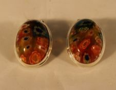 A pair of silver millefiori glass earrings