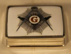 A silver Masonic pill box