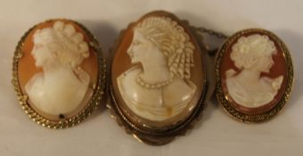 Three gold mounted cameo brooches