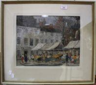 ENGLISH SCHOOL (20th century), Market Scene, pastels, indistinctly signed,
