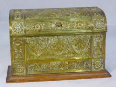 A press gilt metal mounted oak stationary box