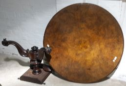 A Victorian burr walnut breakfast table