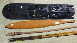 A group of ethnographic pieces including an Aboriginal woomera (spear-thrower), cattle switch,