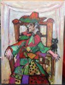 After PABLO PICASSO (1881-1973) Spanish, Cubist Portrait, Oil on canvas, Bears signature.