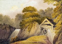 B GALE (19th century) British, The Mill Wheel, Watercolour, Old label to verso for Marion Phipps,
