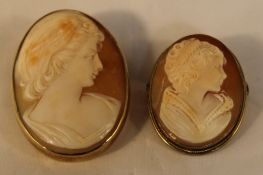 Two gold mounted cameo brooches