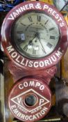 An advertising wall clock for Banner and Prest's Molliscorium