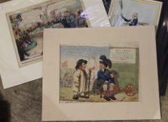 Three assorted early 19th century subject political cartoons: Buy a Broom;
