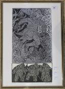 A Folk Art limited edition wood cut print,