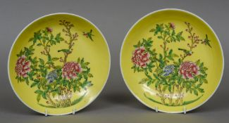 A pair of Chinese porcelain shallow dishes,