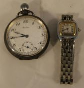 A silver pocket watch and a lady's wristwatch