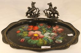 A Russian painted tray and a pair of small Marley horses