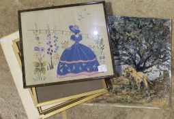Needlework picture depicting girl in bonnet; STODDART,
