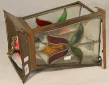 An Art Nouveau stained glass hanging lantern
