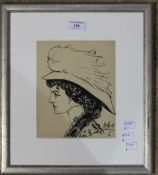 A pen and ink portrait sketch of an Edwardian lady,