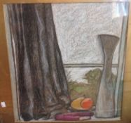 After GASTON HOFFMANN (born 1883) French, Fenetre sur Pre, Chalk and pastel,