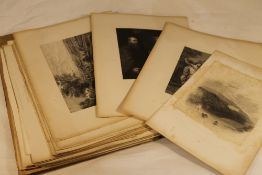 A quantity of various 19th century etchings and prints